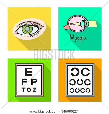 Vector Design Of Optometry And Medicine Logo. Collection Of Optometry And Diagnostic Vector Icon For