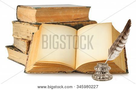 Isolated Old Books. Open Book With Empty Pages, Stack Of Old Books And Inkwell Isolated On White Bac