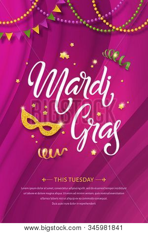 Mardi Gras Lettering Poster. Fat Tuesday Vector Handwritten Typography, Golden Mask, Beads And Flags