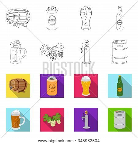 Isolated Object Of Pub And Bar Logo. Collection Of Pub And Interior Stock Vector Illustration.