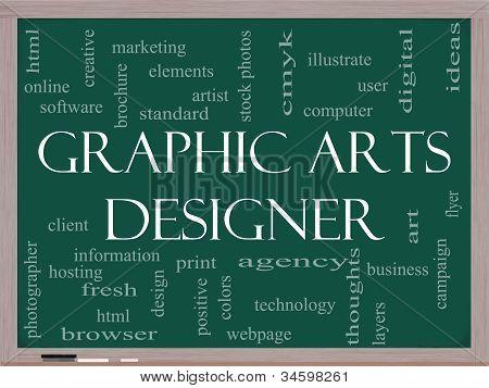 Graphic Arts Designer Word Cloud Concept On A Blackboard