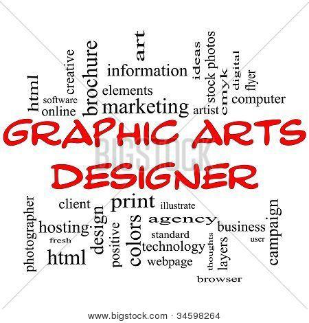 Graphic Arts Designer Word Cloud Concept In Red Caps