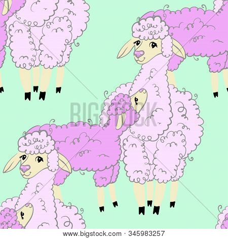 Seamless Pattern. Vector Lama Mom And Baby. Cute Happy Childhood Background.