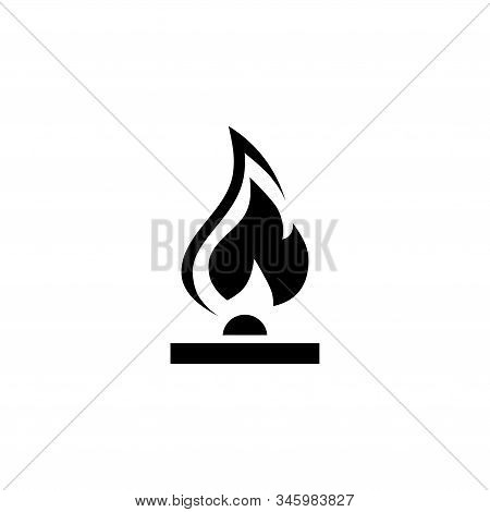 Gas Flame, Fire Burner. Flat Vector Icon Illustration. Simple Black Symbol On White Background. Gas