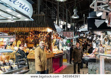 Barcelona, Spain - January 13, 2020: The Mercat De Sant Josep De La Boqueria, A Public Market