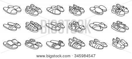 Fashion Sandal Vector Illustration Set On White Background . Summer Shoe Of Sandal Line Vector Set I