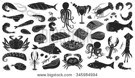 Seafood Vector Black Set Icon.vector Illustration Icon Fish Food On White Background.isolated Black