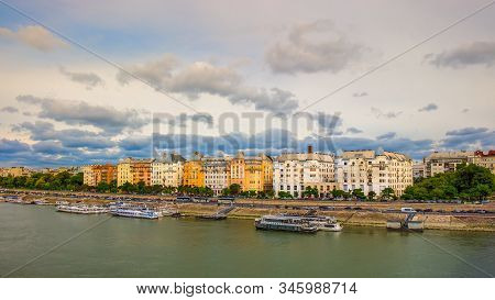 Budapest, Hungary, Aug 2019, View From Margaret Bridge Of Pest District By The River Danube.