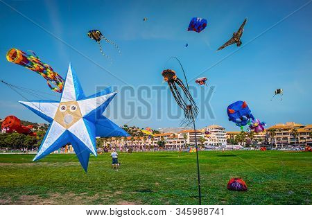 "Marseilles, France, Sept 2019, Kites In The Sky At The ""festival Of The Wind"" At Seaside Park Prado"