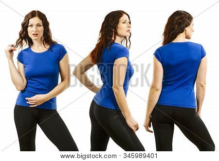 Photo Of A Young Beautiful Redhead Woman With Blank Blue Shirt, Front, Side And Back. Ready For Your