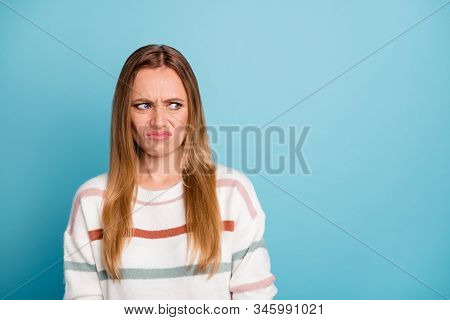 Photo Of Disgusted Woman Looking Into Empty Space Grimacing In Bad Mood From Ugly Odor Isolated Past