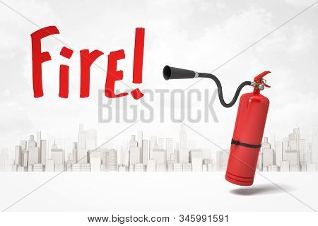 3d Rendering Of Red Foam Portable Fire Extinguisher With Red Fire Sign On White City Skyscrapers Bac