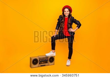 Full Length Body Size View Of Nice Attractive Trendy Cheerful Long-haired Girl In Streetstyle Holdin