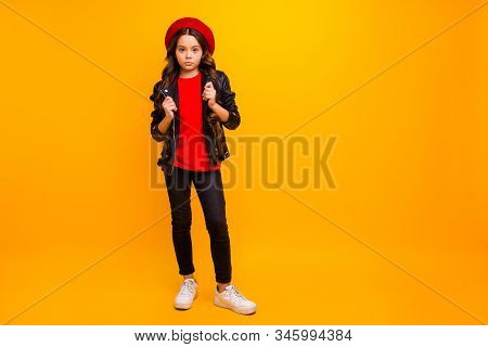 Full Length Body Size View Of Her She Nice Attractive Trendy Fashionable Serious Long-haired Girl Po