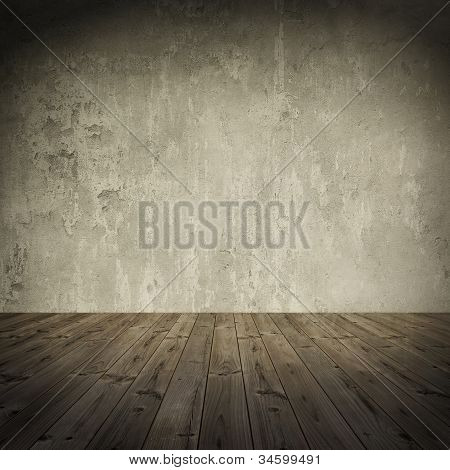 Vintage, grungy, interior with aged wood floor