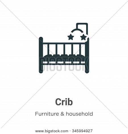 Crib Vector Icon On White Background. Flat Vector Crib Icon Symbol Sign From Modern Furniture Collec