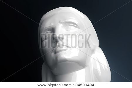 Female marble, bust sculpted head art