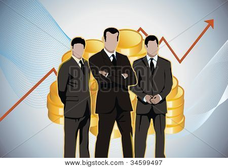 Businessmen in front of stock market charts, golden boys