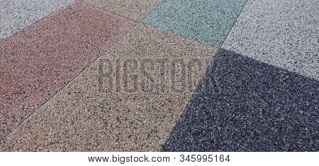Colorful concrete blocks for wall sidewalk or pavement different colors