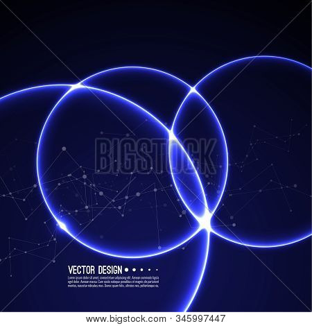 Vector Abstract Background With Overlapping Circles And Dots. Chaotic Motion. Round Banner With Empt