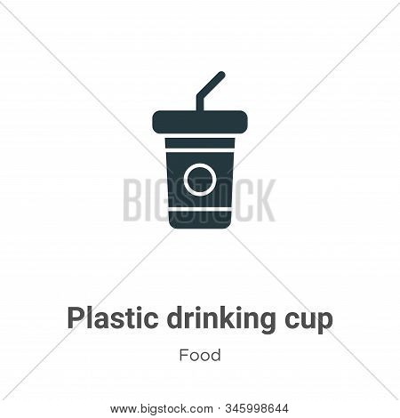 Plastic drinking cup icon isolated on white background from food collection. Plastic drinking cup ic