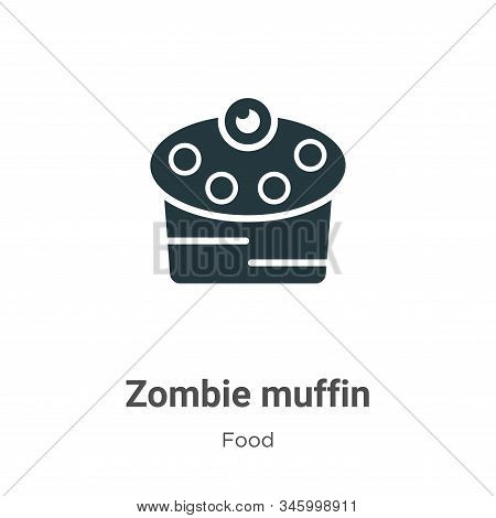 Zombie Muffin Vector Icon On White Background. Flat Vector Zombie Muffin Icon Symbol Sign From Moder