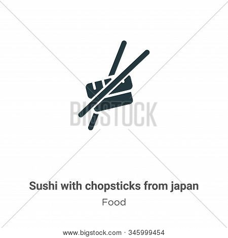 Sushi With Chopsticks From Japan Vector Icon On White Background. Flat Vector Sushi With Chopsticks