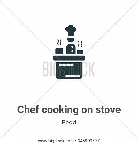 Chef cooking on stove icon isolated on white background from food collection. Chef cooking on stove