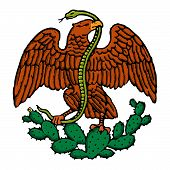 color eagle and snake from mexican flag poster