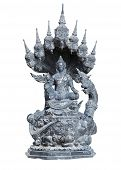 isolated shot of aged stone statue of Buddha sitting in lotus pose with eight dragon heads around and rakshasa below poster