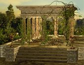 an ancient Greek temple with a burners and ivy poster