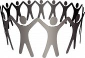 A group of Symbol People hold up arms to form a circle ring chain of teamwork cooperation community etc. poster