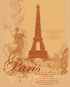 vintage retro Eiffel in Paris card , vector illustration poster