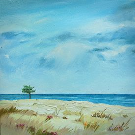 Hand-drawn Oil Painting With Calm Sea View