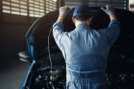 Car Mechanic Opening Car Hood For Internal Checking To Maintenance Vehicle By Customer Claim Order I