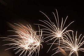 Luxury Fireworks Event Sky Show With Beautiful Fine Golden Stars. Premium Entertainment Magic Star F