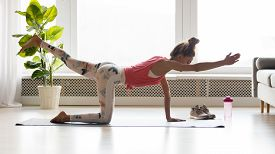 Fit Young Woman Doing Balance Exercises, Practicing Yoga At Home.