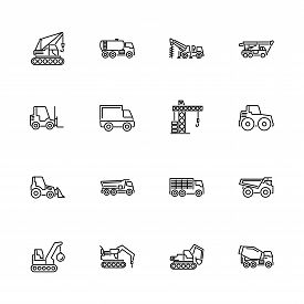 Construction Vehicles Car Outline Icons Set - Black Symbol On White Background. Construction Vehicle