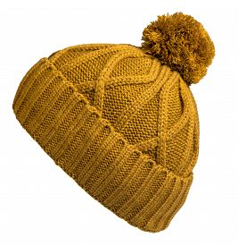 Knitted Yellow Hat Isolated On White Background.hat With Pompon .