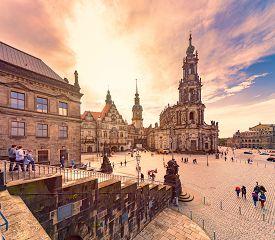 Dresden, Germany - September 22, 2014: Katholische Hofkirche With Dresden Castle On The Left And Sem