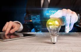 Businessman holding lightbulb with CYBER INSURANCE inscription, online security idea concept