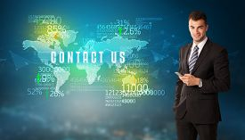 Businessman in front of a decision with CONTACT US inscription, business concept