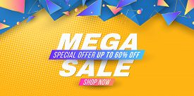 Web Banner For Mega Sale. Brochure For Your Business Project. Geometric Design From Random Polygonal