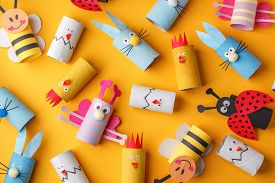 Collection Of Toys From Toilet Roll Tube For Happy Easter Decor. A Terrible Craft. School And Kinder