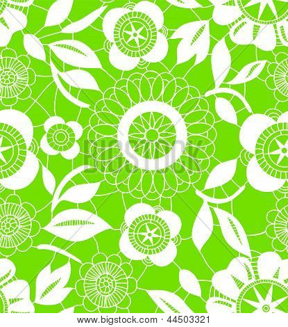 White crochet lacy flowers on green seamless pattern, vector