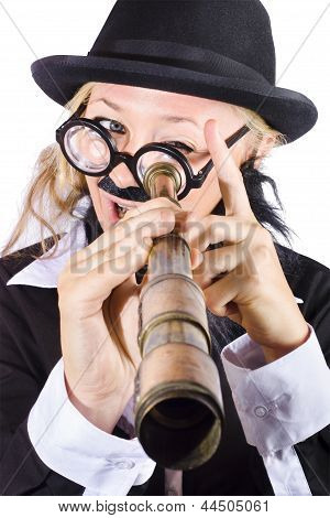 Businesswoman Looking Through Telescope