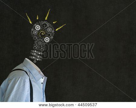 Bright Idea Man With Chalk Lightbulb Head