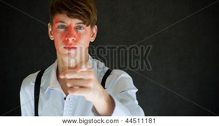 Canada Needs You Canadian Flag On Face Man On Blackboard Background
