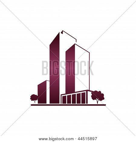 Purple apartments over white