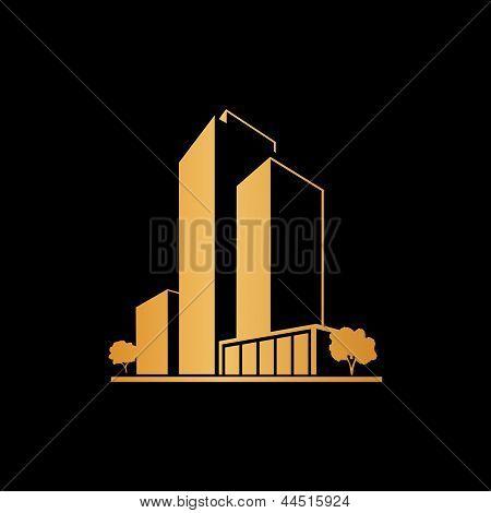 Golden apartments over black